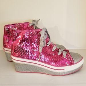 Justice Sequins Glitter Zip up Sneaker Wedge 4